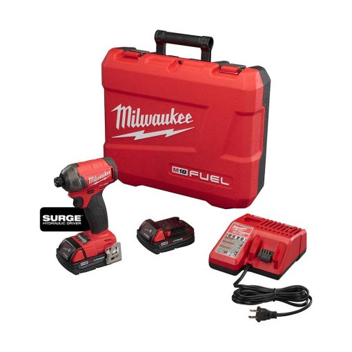 Milwaukee M18 FUEL SURGE 18-Volt Lithium-Ion Brushless Cordless 1/4 in. Hex Impact Driver Compact Kit w/(2) 2.0Ah Batteries, Case