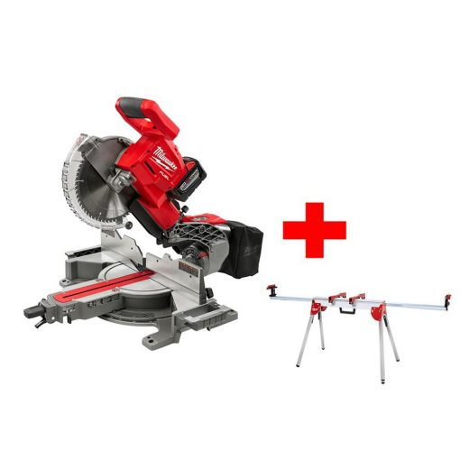 Milwaukee M18 FUEL 18-Volt Lithium-Ion Brushless Cordless 10 in. Dual Bevel Sliding Compound Miter Saw Kit W/ Miter Stand