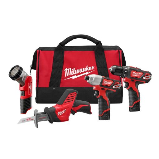 Milwaukee M12 12-Volt Lithium-Ion Cordless Combo Tool Kit (4-Tool) with (2) 1.5 Ah Batteries, (1) Charger, (1) Tool Bag