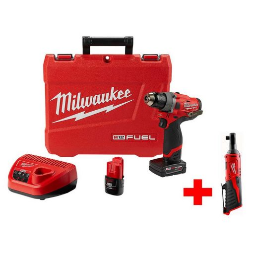 Milwaukee M12 FUEL 12-Volt Lithium-Ion Brushless Cordless 1/2 in. Drill Driver Kit with Free M12 3/8 in. Ratchet