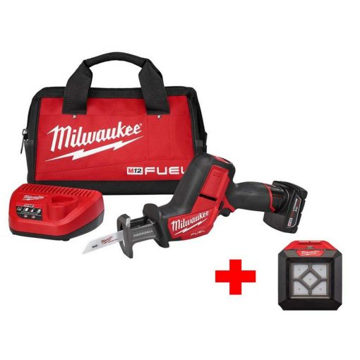 Milwaukee M12 FUEL 12-Volt Lithium-Ion Brushless Cordless HACKZALL Reciprocating Saw Kit with Free M12 LED Flood Light