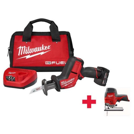 Milwaukee M12 FUEL 12-Volt Lithium-Ion Brushless Cordless HACKZALL Reciprocating Saw Kit W/ Free M12 Jig Saw