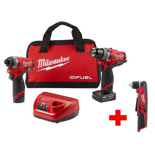 Milwaukee M12 FUEL 12-Volt Li-Ion Brushless Cordless Hammer Drill and Impact Driver Combo Kit with Free Right Angle Drill (2-Tool)