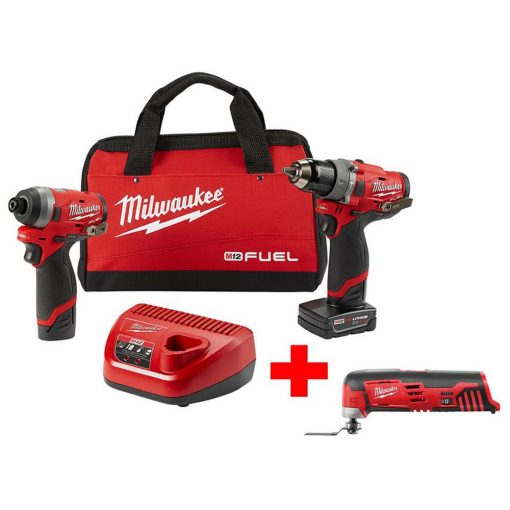 Milwaukee M12 FUEL 12-Volt Li-Ion Brushless Cordless Hammer Drill and Impact Driver Combo Kit (2-Tool)W/ Free M12 Multi-Tool