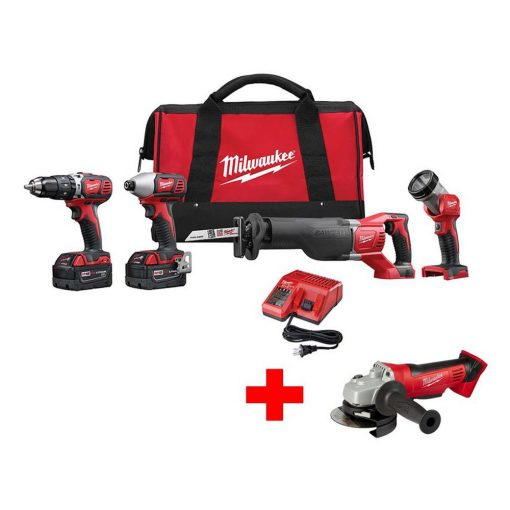 Milwaukee M18 18-Volt Lithium-Ion Cordless Combo Tool Kit (4-Tool) with Free M18 Cut Off Grinder