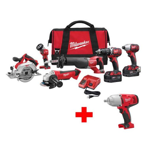 Milwaukee M18 18-Volt Lithium-Ion Cordless Combo Tool Kit (6-Tool) with Free M18 1/2 in. Impact Wrench with Friction Ring