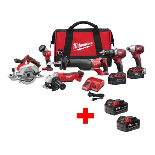 Milwaukee M18 18-Volt Lithium-Ion Cordless Combo Tool Kit (6-Tool) with Free M18 2-Pack Of 3.0Ah Batteries