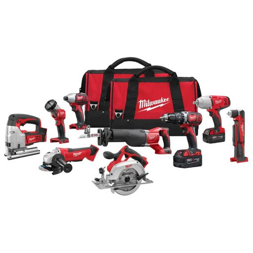 Milwaukee M18 18-Volt Lithium-Ion Cordless Combo Tool Kit (9-Tool) with (2) 3.0 Ah Batteries, (1) Charger, (2) Tool Bags