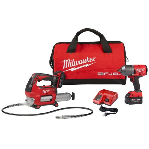 Milwaukee M18 FUEL 18-Volt Lithium-Ion Brushless Cordless 1/2 in. Impact Wrench with Friction Ring Kit with Free M18 Grease Gun
