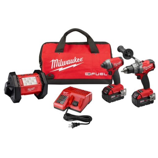 Milwaukee M18 FUEL ONE-KEY 18-Volt Lithium-Ion Brushless Cordless Combo Kit (3-Tool) w/(2) 5.0Ah Batteries, Charger, (1) Tool Bag