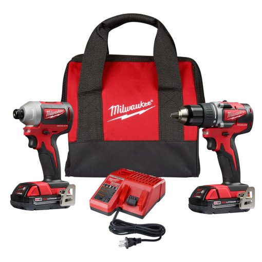 Milwaukee M18 18-Volt Lithium-Ion Brushless Cordless Compact Drill/Impact Combo Kit (2-Tool) with 2 2.0Ah Batteries, Charger Bag