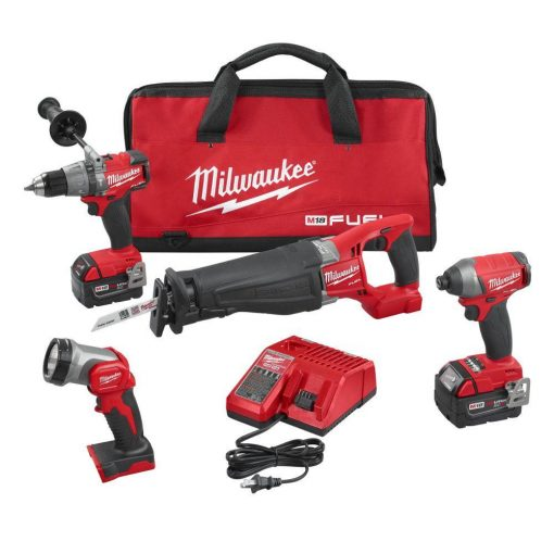 Milwaukee M18 FUEL 18-Volt Lithium-Ion Brushless Cordless Combo Kit (4-Tool) with (2) 5.0 Ah Batteries, (1) Charger, (1) Tool Bag