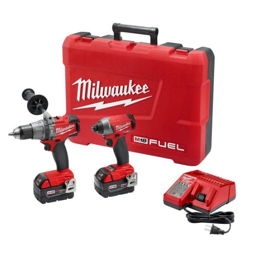 Milwaukee M18 FUEL 18-Volt Lithium-Ion Brushless Cordless Hammer Drill/Impact Driver Combo Kit (2-Tool) w/(2) 5Ah Batteries, Case