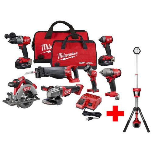 Milwaukee M18 FUEL 18-Volt Lithium-Ion Brushless Cordless Combo Kit (7-Tool) with Free M18 Rocket Dual Power Tower Light
