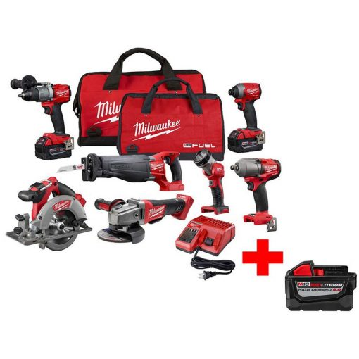 Milwaukee M18 FUEL 18-Volt Lithium-Ion Brushless Cordless Combo Kit (7-Tool) with Free M18 9.0Ah Battery