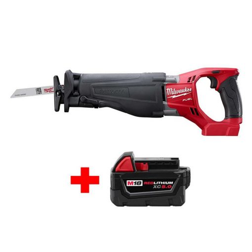 Milwaukee M18 FUEL 18-Volt Lithium-Ion Brushless Cordless SAWZALL Reciprocating Saw with Free M18 5.0Ah Battery
