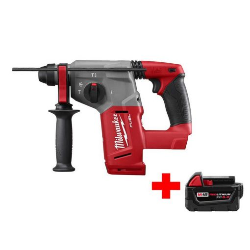 Milwaukee M18 FUEL 18-Volt Lithium-Ion Brushless Cordless 1 in. SDS-Plus Rotary Hammer with Free M18 5.0Ah Battery
