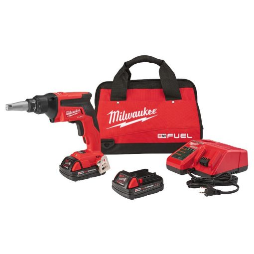Milwaukee M18 FUEL 18-Volt Lithium-Ion Brushless Cordless Compact Drywall Screw Gun Kit w/(2) 2.0Ah Batteries, Charger, Tool Bag