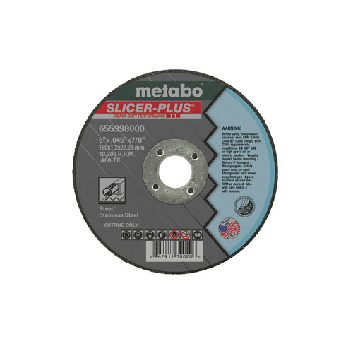Metabo 655997000-50 4-1/2 in. x 0.045 in. A60TX Type 1 SLICER-PLUS High Performance Cutting Wheels (50 Pc)