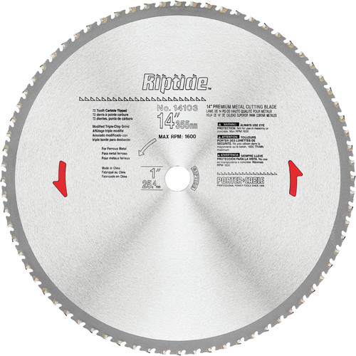 Porter-Cable 14103 14 in. 72 Tooth Riptide Dry Metal Cutting Circular Saw Blade