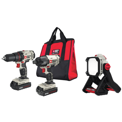 Porter-Cable PCCK604L2-L500BBNDL 20V MAX Cordless Lithium-Ion Drill Driver and Impact Drill Kit with LED Task Light