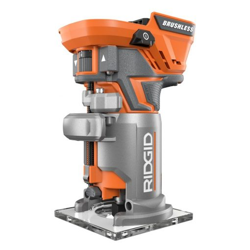 Ridgid 18-Volt Cordless Brushless 1/4 in. Compact Router with Fixed Base and Tool Free Depth Adjustment