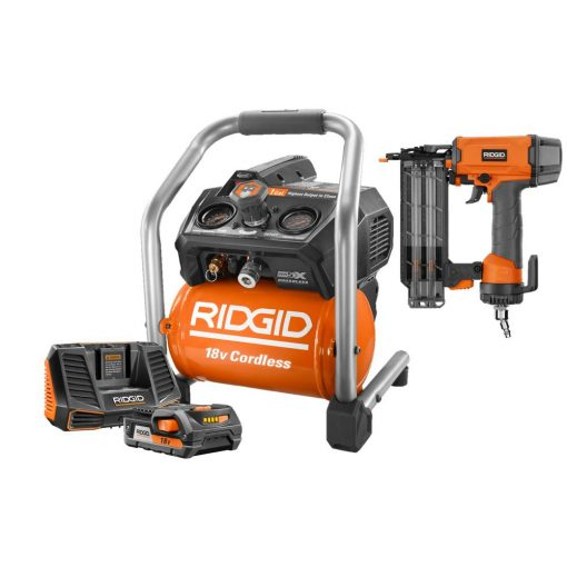 RIDGID 18-Volt Cordless Brushless 1 Gal. Portable Air Compressor with 2-1/8 in 18-Gauge Brad Nailer, Battery, and 18-V Charger