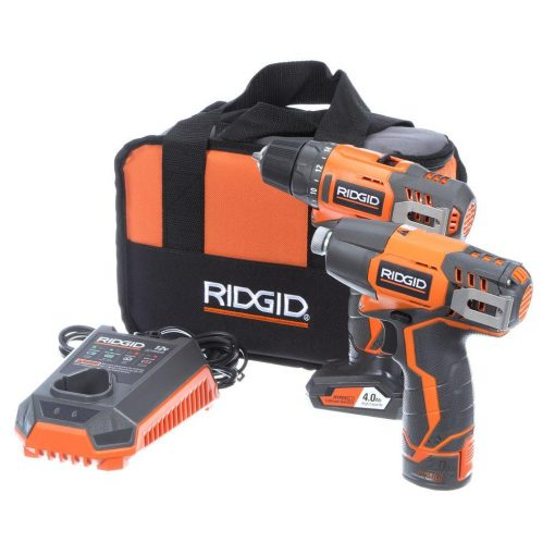 RIDGID 12-Volt Lithium-Ion Cordless Drill/Driver and Impact Driver Combo Kit with (2) Batteries, Charger and Bag