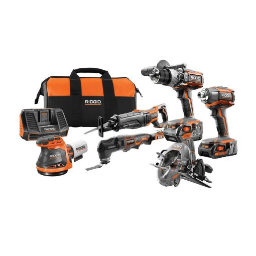 RIDGID 18-Volt Gen5X Cordless 6 Piece Combo Kit with (1) 4.0 Ah Battery and (1) 2.0 Ah Battery, Charger and Bag
