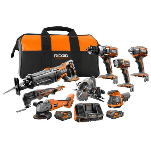 RIDGID 18-Volt Gen5X Lithium-Ion Cordless (8-Tool) Combo Kit with (1) 4.0 Ah Battery and (1) 2.0 Ah Battery, Charger and Bag