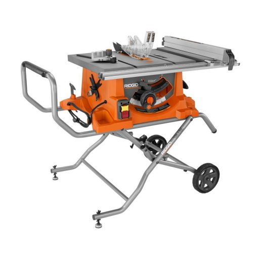 RIDGID 15 Amp Corded 10 in. Heavy-Duty Portable Table Saw with Stand