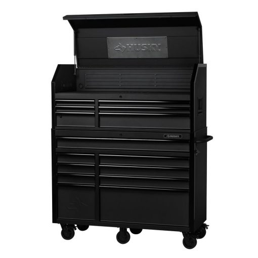 Husky Industrial 52 in. W x 21.7 in. D 15-Drawer Tool Chest and Cabinet Combo in Textured Black