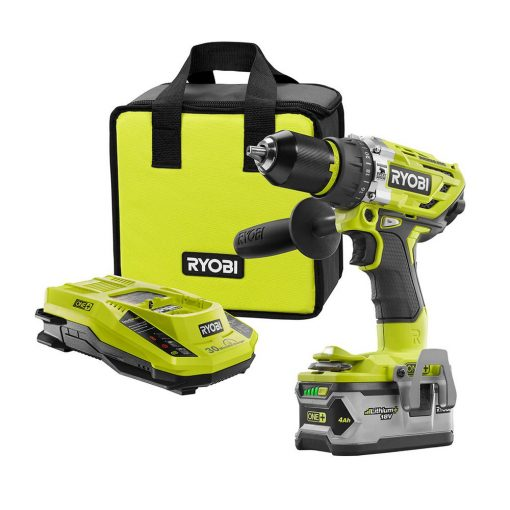 Ryobi 18-Volt ONE+ Cordless Brushless Hammer Drill/Driver, with (1) 4.0 Ah Battery, Charger, and Bag