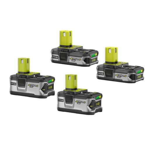 Ryobi 18-Volt ONE+ LITHIUM+ Lithium-Ion Battery Kit with (2) 4.0 Ah Batteries and (2) 1.5 Ah Batteries
