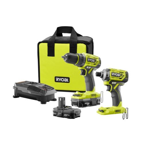 Ryobi 18-Volt ONE+ Lithium-Ion Cordless Brushless Drill/Driver-Impact Driver Kit (2-Tool) w/(2) 1.3 Ah Batteries, Charger, Bag