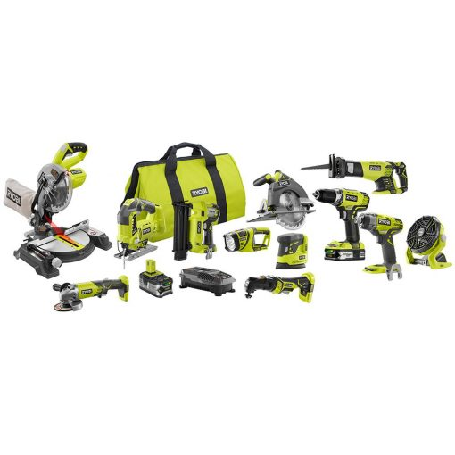 Ryobi 18-Volt ONE+ Lithium-Ion Cordless 12-Tool Combo Kit with (1) 4.0 Ah Battery, (1) 1.5 Ah Battery, 18-Volt Charger and Bag