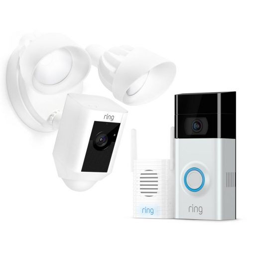 Ring Wireless Video Doorbell 2 with Chime Pro and Floodlight Cam White
